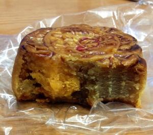 Lotus seed moon cake with salty egg yolk
